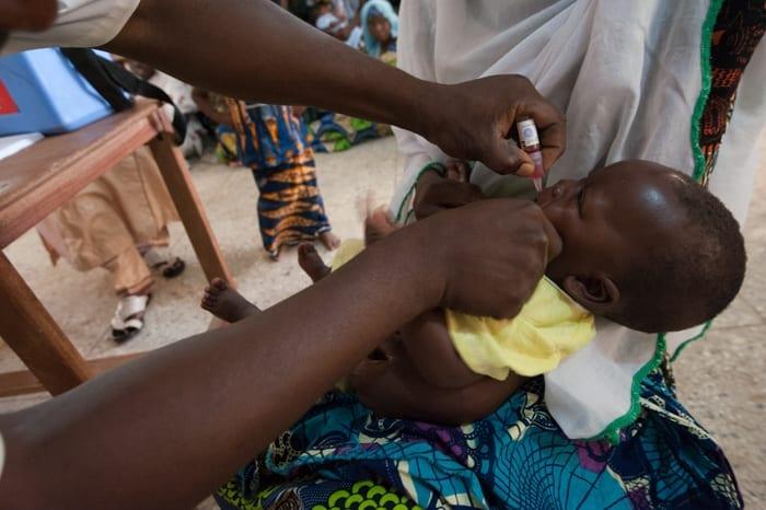 baby being immunised in Nigeria