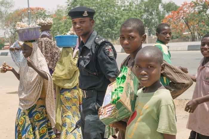 Nigerian policeman in the community