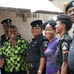Nigerian police on duty in Lagos Market